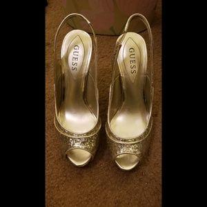 Guess Gold Glitter Slingback Sandal Heels